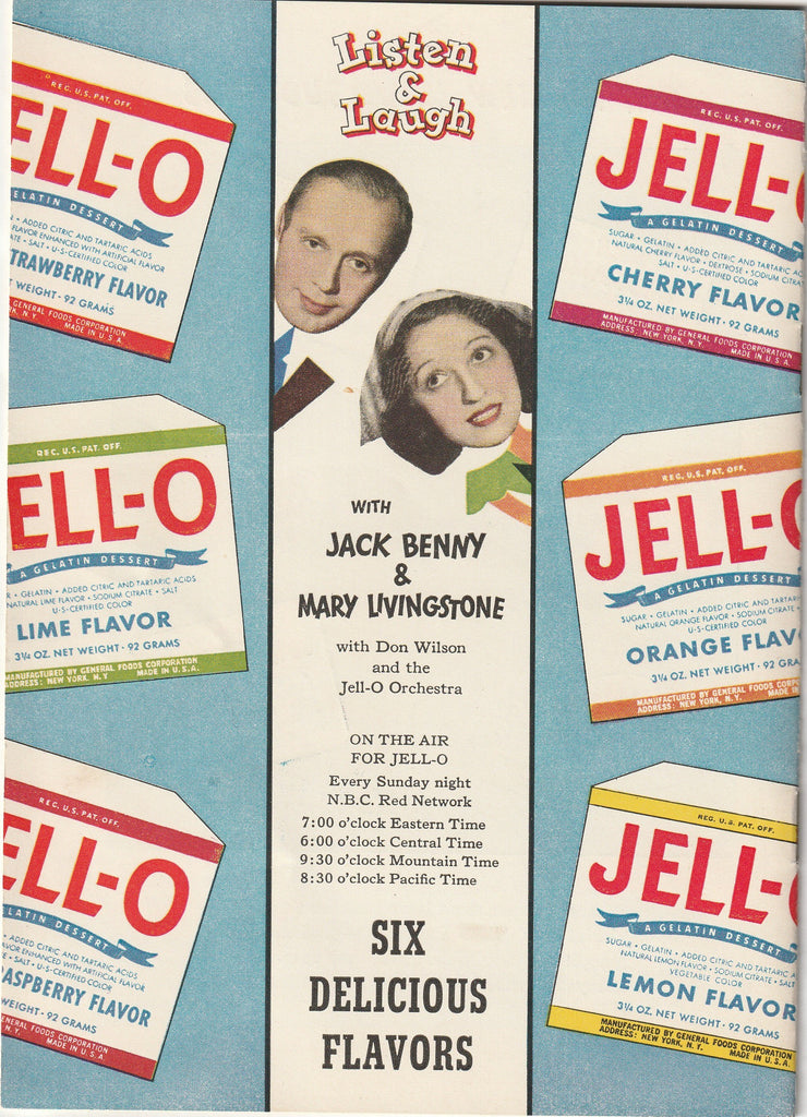 Jack & Mary's Jello-o Recipe Book Back Cover