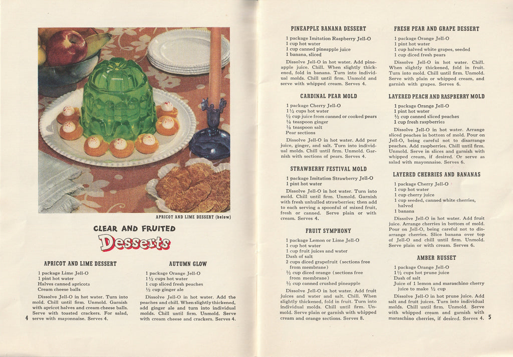 Jack & Mary's Jello-o Recipe Book Apricot and Lime Dessert