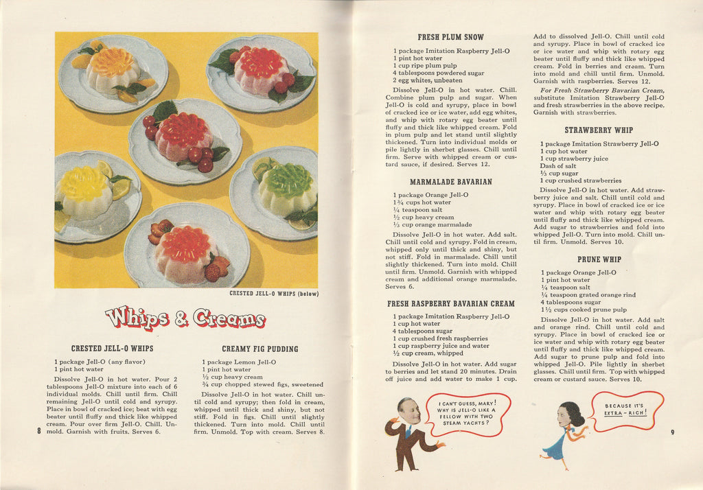 Jack & Mary's Jello-o Recipe Book Crested Jell-o Whips