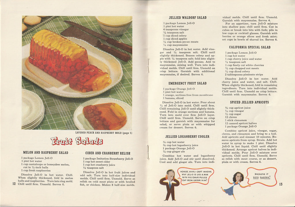 Jack & Mary's Jello-o Recipe Book Layered Peach and Raspberry Mold