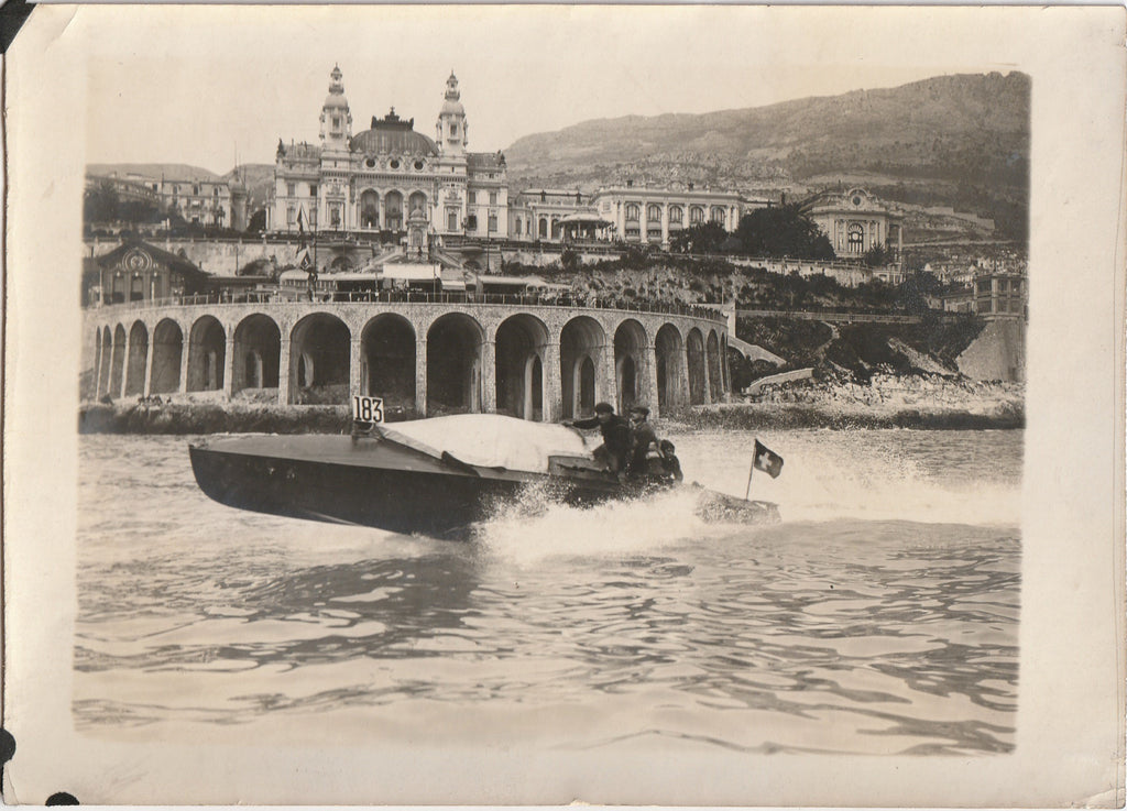 Monte Carlo Casino Monaco Swiss Speedboat Antique Photo 1918