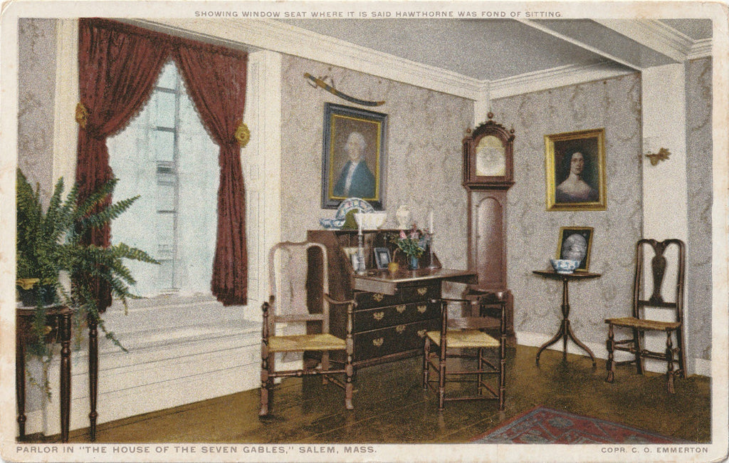 Parlor House of Seven Gables Salem MA Postcard