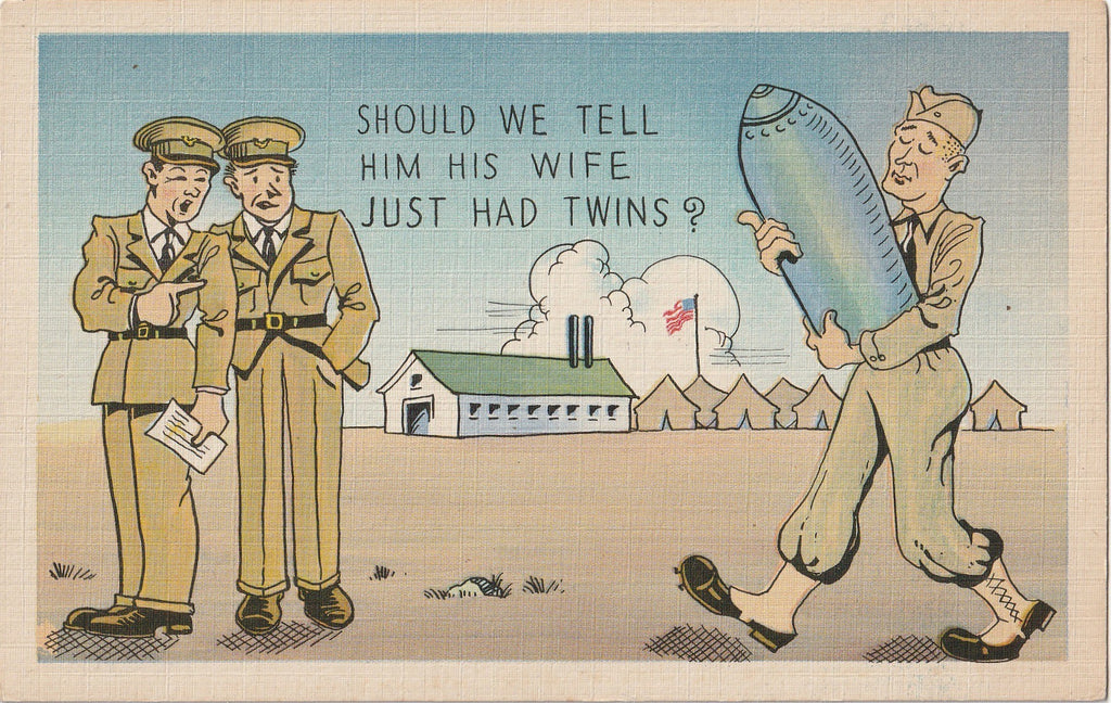 Should We Tell Him His Wife Just Had Twins - Postcard, c. 1940s