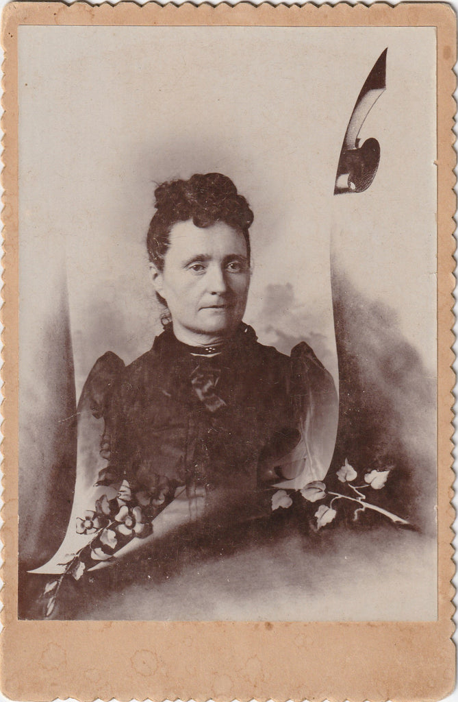 Victorian Widow in Black Memorial Cabinet Photo