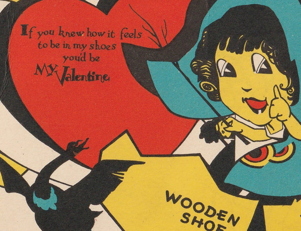 Wooden Shoe Be My Valentine Vintage Card Close Up 3