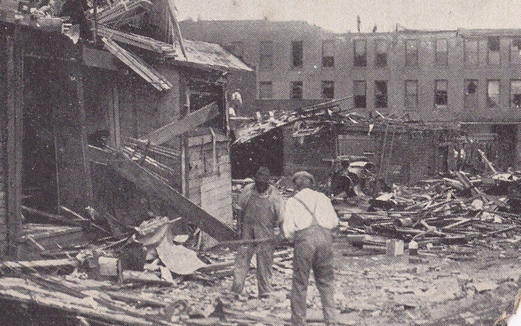 Wreckage at Broadway- 1920s Antique Postcard- Tornado Aftermath- Lorain, Ohio- Natural Disaster- June 28, 1924- H H Hamm