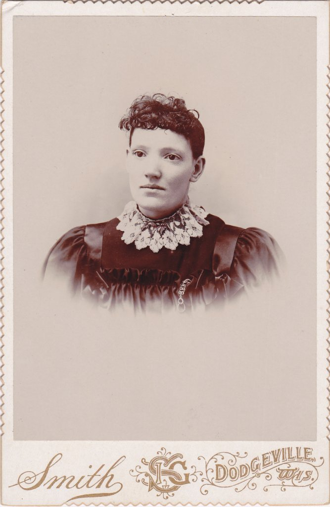 Eyes Like Dark Pools- 1800s Antique Photograph- Victorian Woman- Dodgeville, Wisconsin- Cabinet Photo- Beautiful Portrait- Photographer J G Smith