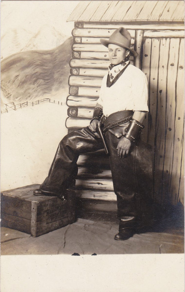 St. Louis Cowboy- 1910s Antique Photograph- Leather Chaps- Novelty Portrait- Real Photo Postcard- AZO RPPC- Wild West