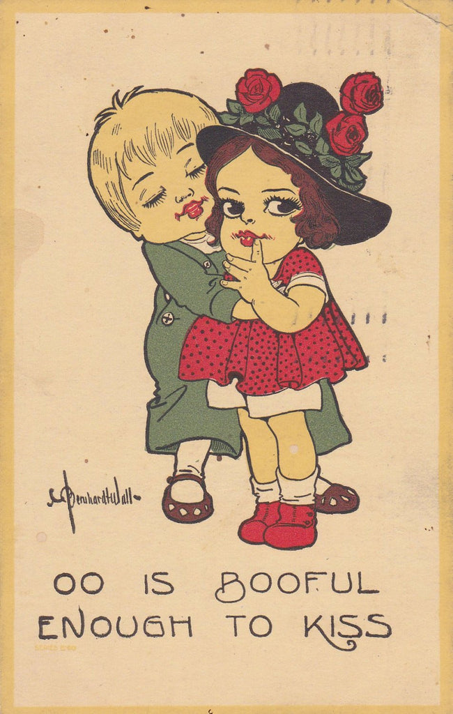 Booful Enough to Kiss- 1910s Antique Postcard- Edwardian Art Comic- Bernhardt Wall- Artist Signed- Used