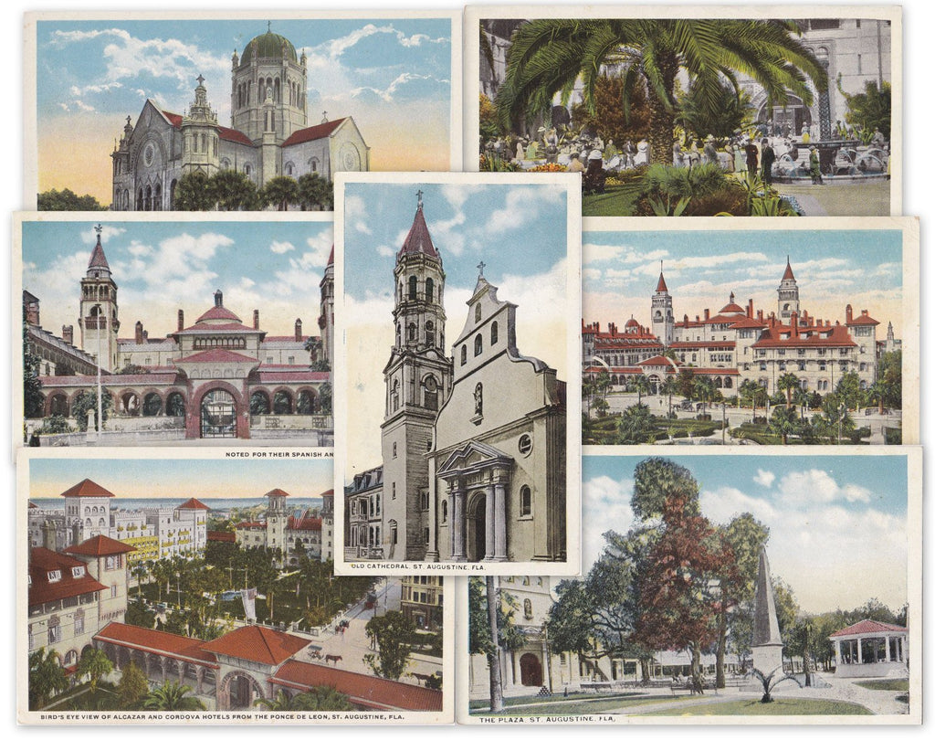 St. Augustine, Florida- 1910s Antique Postcards- SET of 7- Ponce De Leon Hotel- W J Harris Co- Souvenir Views- Unused