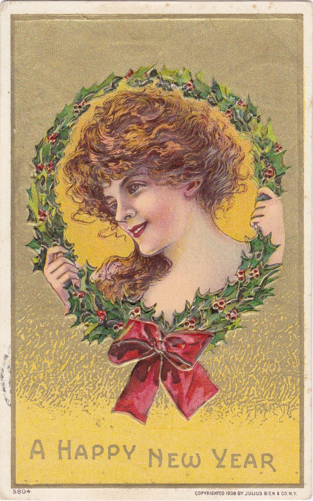 Happy New Year- 1900s Antique Postcard- Edwardian Beauty- Holly Wreath- Julius Bien & Co.- Embossed- Used