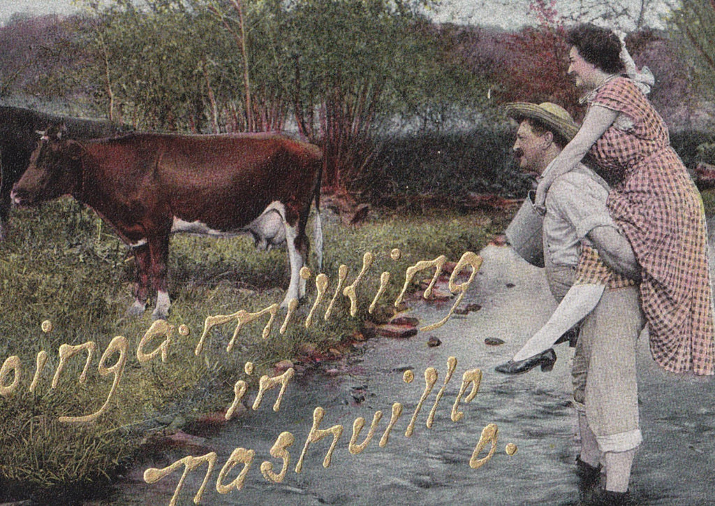 Going A Milking- 1900s Antique Postcard- Nashville, Ohio- Edwardian Romance- Dairy Farmer- Farm Cows- United Art Pub. Co- Unused