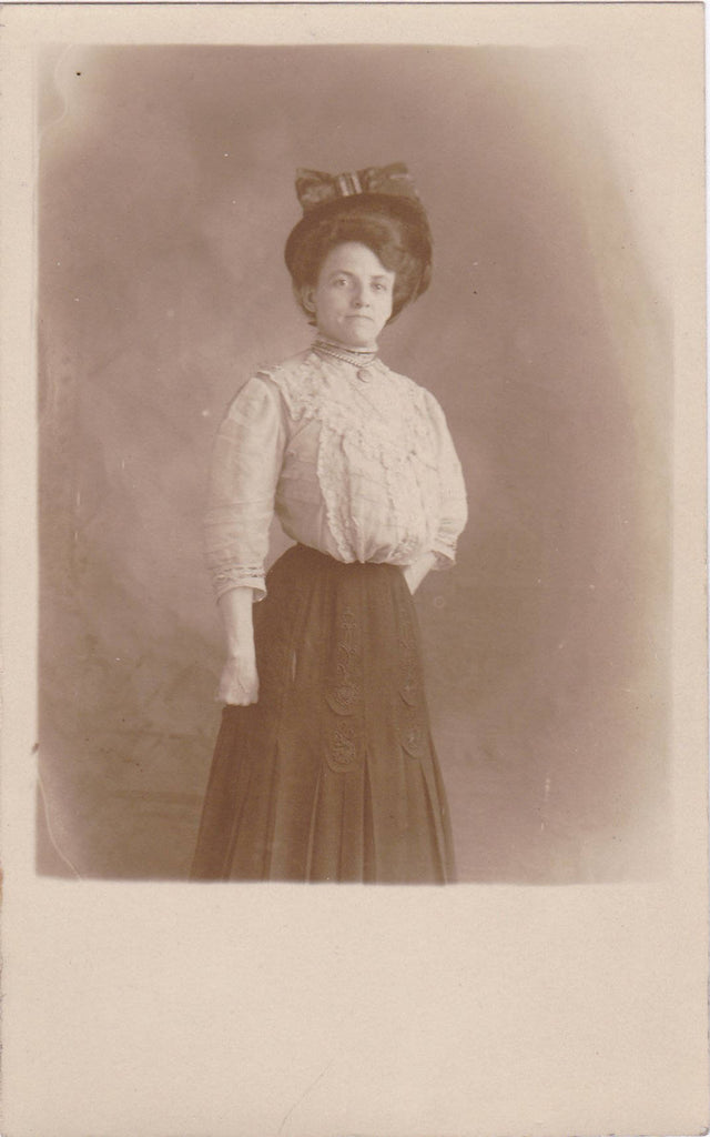 Helen Can Stay Till Tomorrow- 1900s Antique Photograph- Edwardian Woman- Shirtwaist Dress- Turn of the Century Fashion- Real Photo Postcard