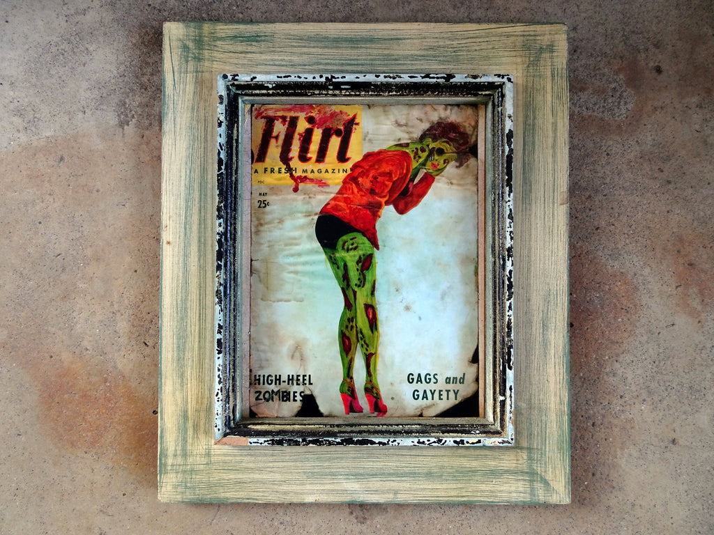 High-Heel Zombies- Zombie Pin Up Art- Altered Magazine- Flirt- Undead- Original Art- Giclee Print- Retro Horror- Rockabilly- Halloween Decor