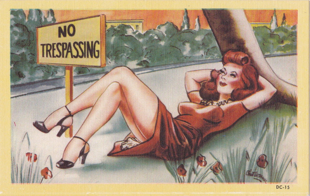 No Trespassing- 1940s Vintage Postcard- Bombshell Redhead Pin Up- Asheville NC- Risque Comic- Linen Postcard- Unused