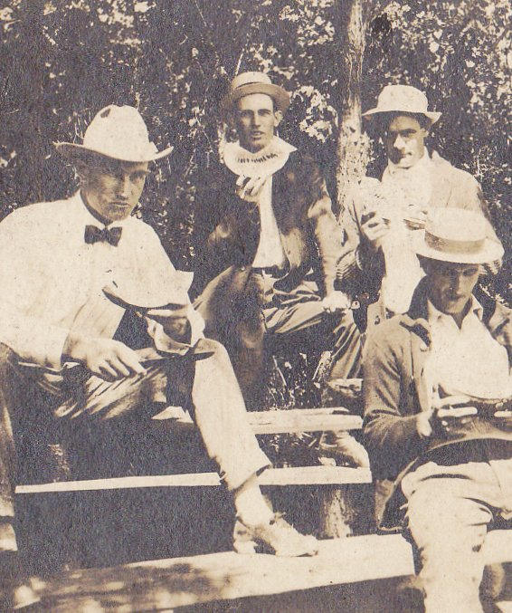Eating Watermelon- 1900s Antique Photograph- Edwardian Men- Park Bench- Found Photo- Real Photo Postcard- AZO RPPC