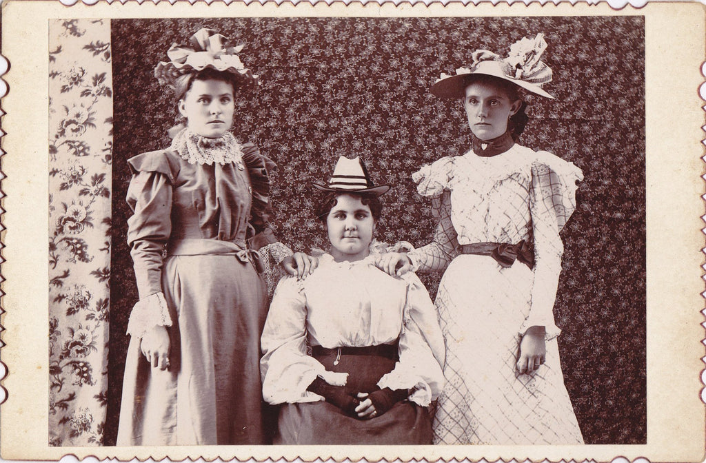 Estella, Myrtle & Fany- 1800s Antique Photograph- Victorian Women- 19th Century- Spring Fashion- Easter Hats- Cabinet Photo- Found Photo