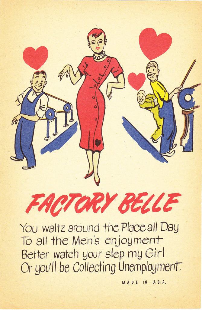 Factory Belle- 1940s Vintage Card- Vinegar Valentine- Men's Enjoyment- Unemployment- WW2 Factory Girl- WWII Pin Up Comic