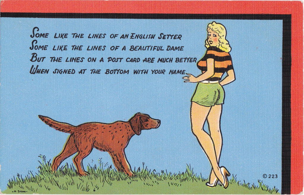 Lines of an English Setter- 1950s Vintage Postcard- Beautiful Dame- Dog and Pin Up- Pick-Up Lines- Art Comic- E C Kropp- Unused
