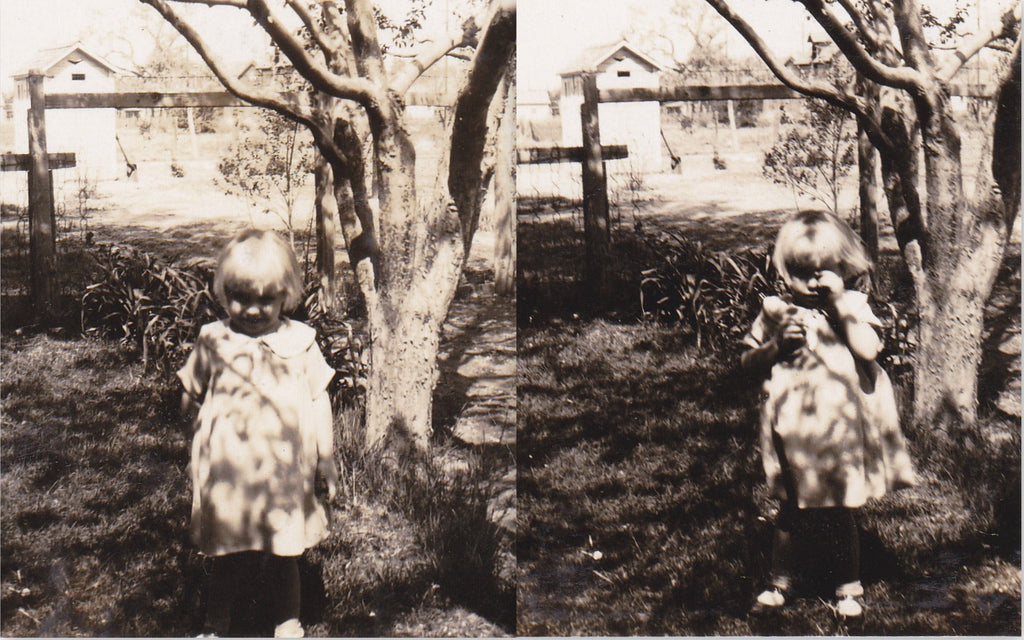 Guess What I Have- 1920s Antique Photographs- SET of 2- Creepy Cute- Little Girl with Toy- Found Photos- Vernacular Snapshots- Ephemera