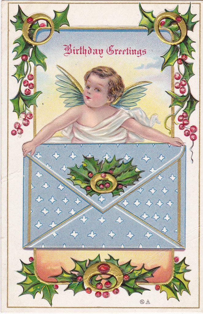 Christmas Angel- 1900s Antique Postcard- Christmas Birthday- Winter Decor- December Birthday- Cherub Art- Birthday Series- Used
