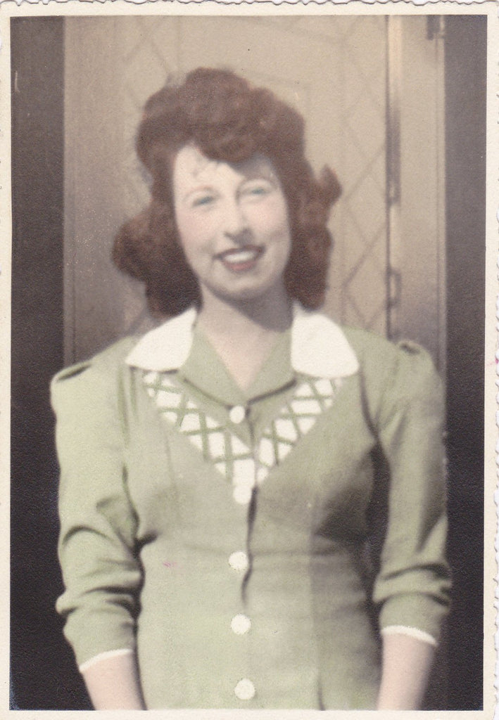 Smiling Blue Eyes- 1940s Vintage Photograph- Beautiful Woman in Sage Green Dress- Hand Tinted Photo- Portrait