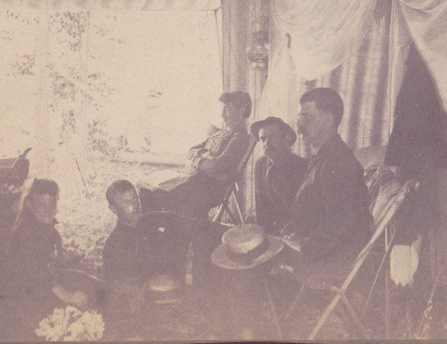 In the Out-of-Doors- 1800s Antique Photograph- Tent Camping Victorian Family- Striped Canvas Tent- Outdoors Cabinet Photo- Paper Ephemera