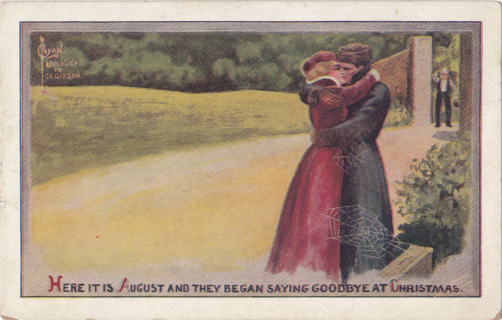 Here It Is August- 1910s Antique Postcard- Kissing Couple- Cobwebs- Artist Signed- C Ryan- Apologies To Gibson- Art Comic- Used