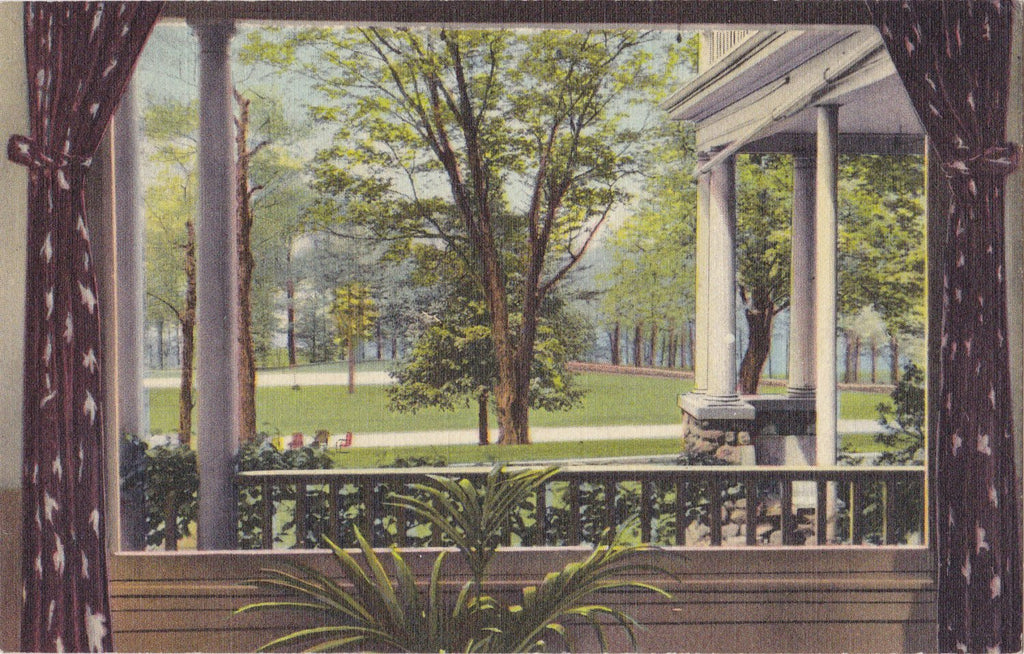 New England Sanitarium Hospital- 1940s Vintage Postcard- Stoneham, Mass- Massachusetts- Looking Out Window- Curteich Souvenir