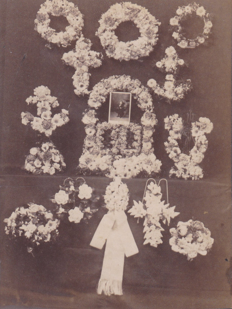 Funeral Flowers- 1800s Antique Photograph- Victorian Mourning- Cabinet Photo- Child Memorial- Dayton, Ohio- Jos. Neff- Paper Ephemera