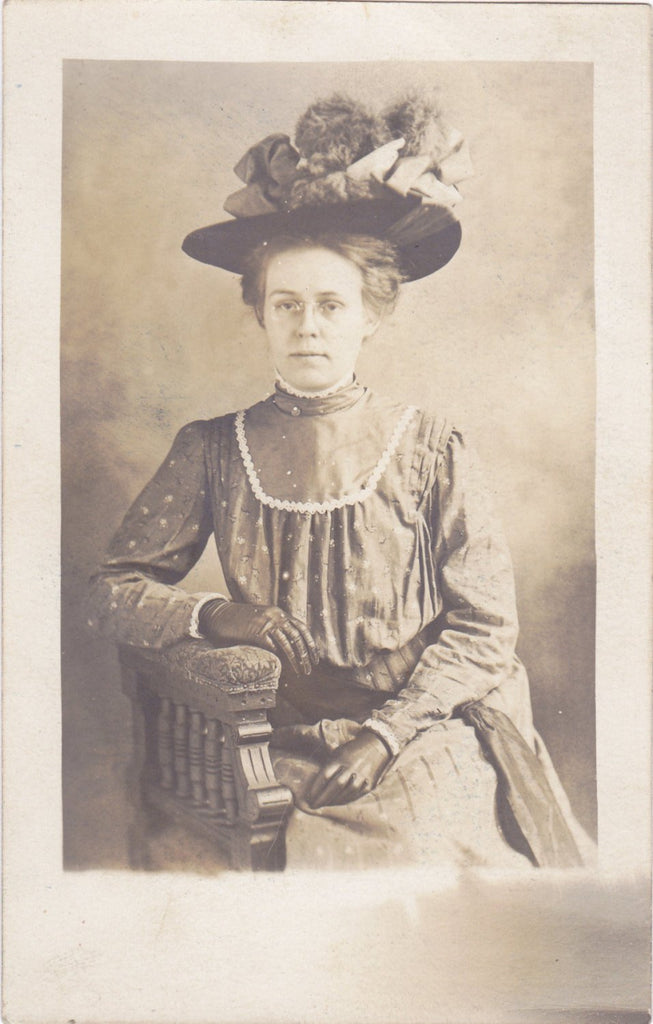 Easter Bonnet- 1900s Antique Photograph- Edwardian Beauty- Beautiful Woman- Spring Fashion- Real Photo Postcard- RPPC- Paper Ephemera
