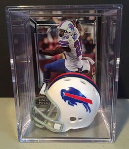 Buffalo Bills mini helmet shadowbox w/ player card