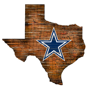 NFL Team Logo State Design Wood Sign