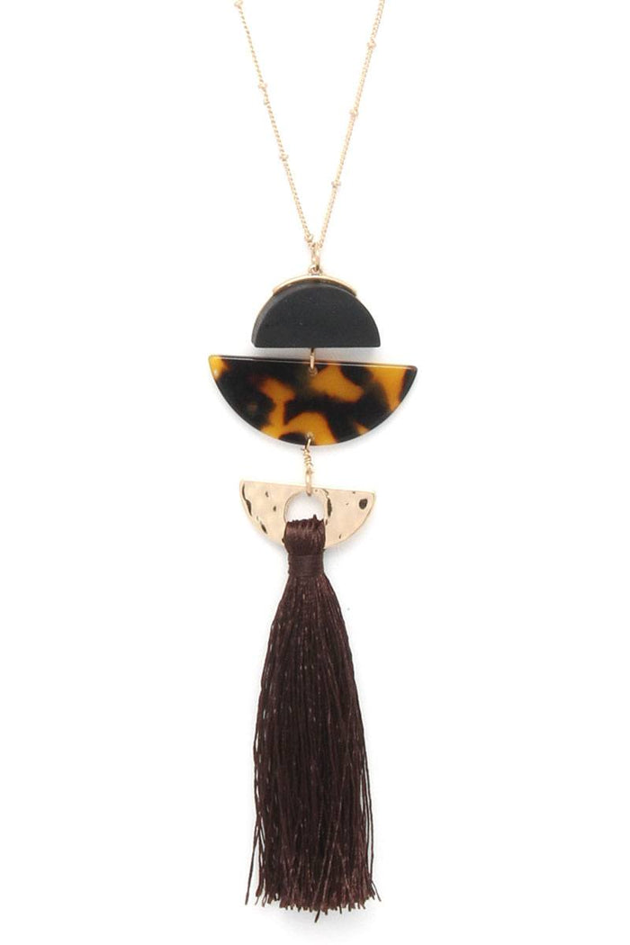 Acetate half circle tassel pendant necklace