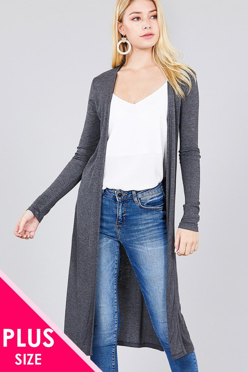 Ladies fashion plus size long sleeve open front side slit long length rayon spandex rib cardigan