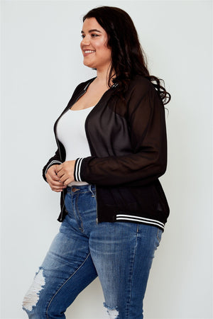 Ladies fashion plus size black sheer mesh zipper front jacket
