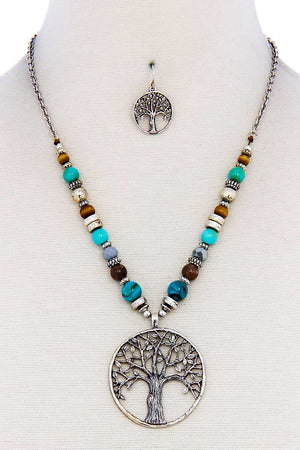 Trendy Bead And Tree Pendant Necklace And Earring Set
