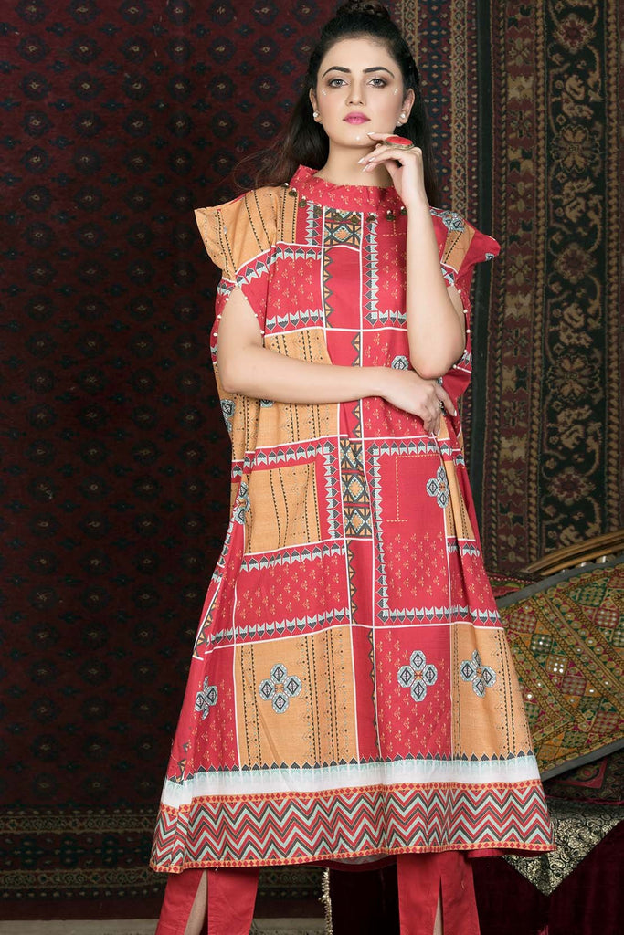 Single Shirt Khaddar Print 1308908 - Unstitched - Warda Designer Collection