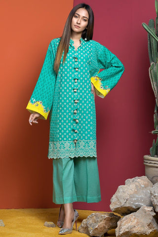 Single Shirt Khaddar Chikan Kari with Print 1308904 - Unstitched - Warda Designer Collection