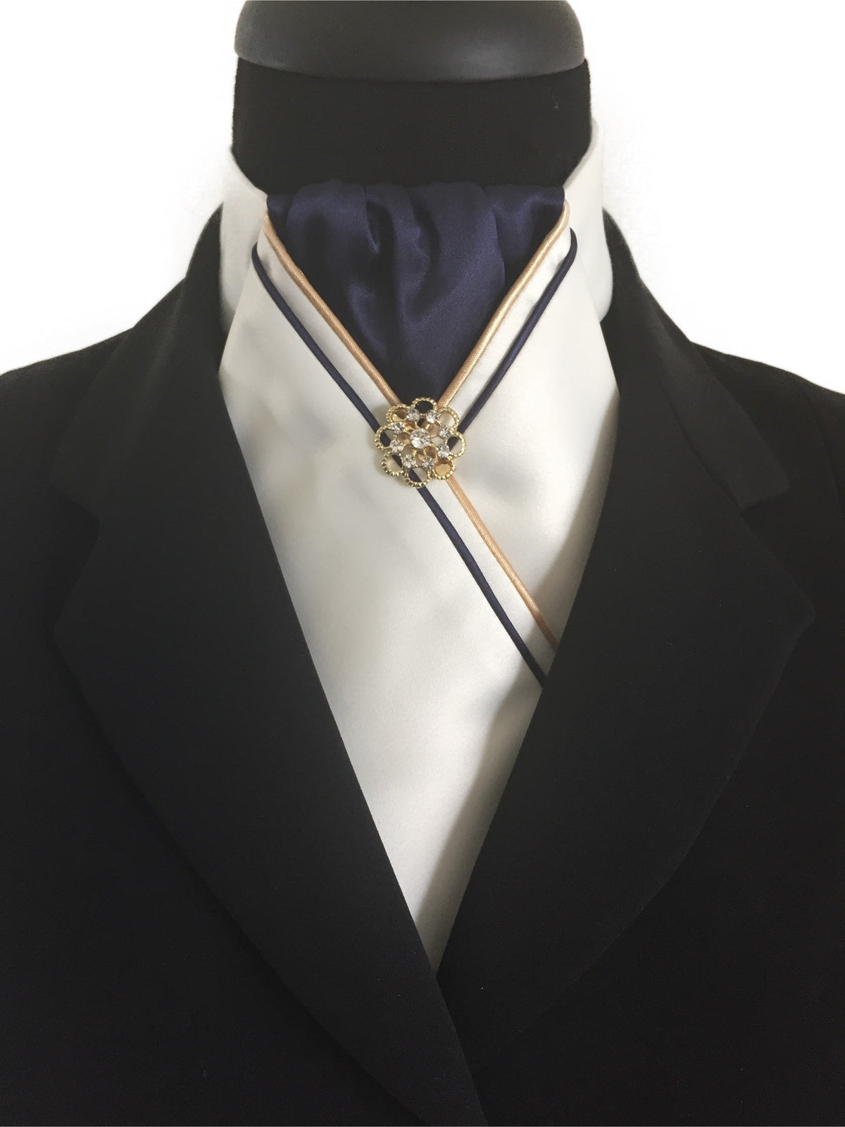 Cream Stock Tie with Navy Center and Piping