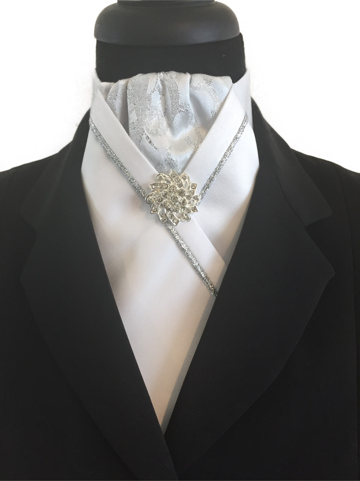 White Stock Tie with Silver Brocade and Piping