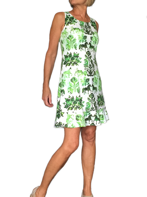 Green Equestrian Print Dress