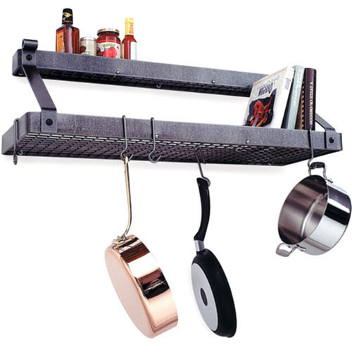 Enclume Premier Bookshelf Wall Pot Rack, Stainless Steel