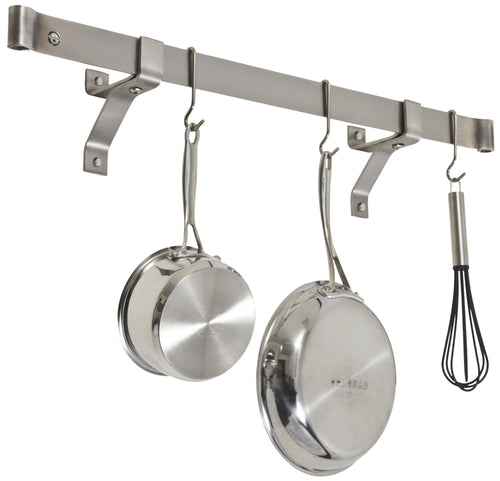 Enclume Premier 36-Inch Rolled End Bar, Wall or Ceiling, Pot Rack, Use with Wall Brackets or Captain Hooks, Stainless Steel