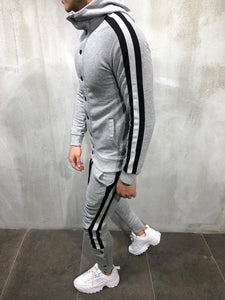 Gray Collar Striped Tracksuit Gymwear Set A201 Streetwear Tracksuit Jogger Set