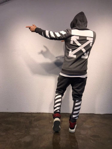 Gray Printed Tracksuit Gym Set SJ261 Streetwear Tracksuits