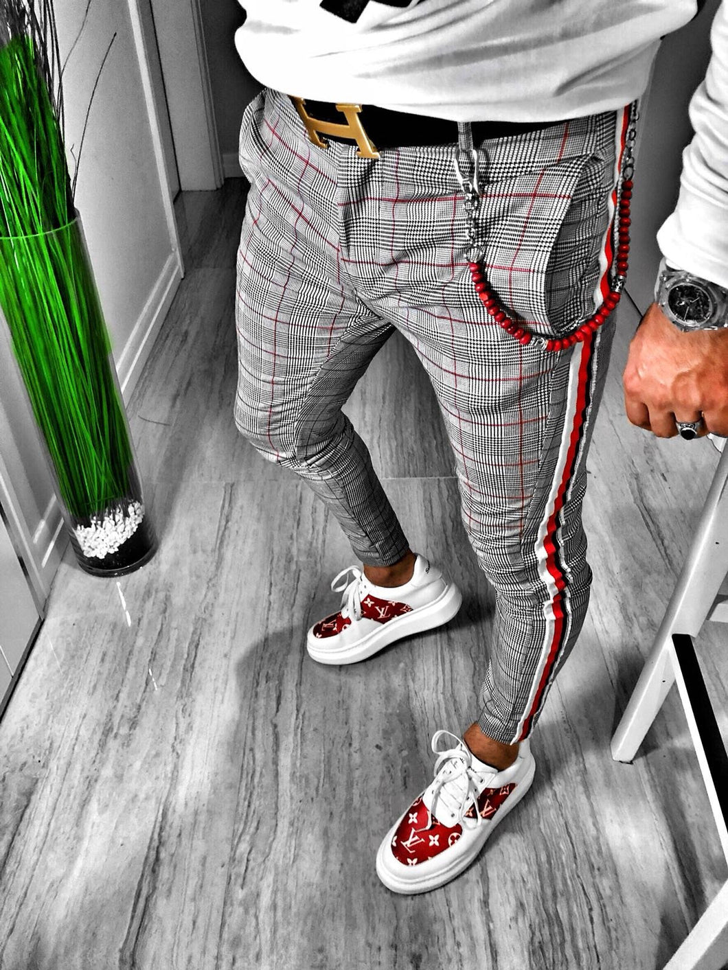 Gray Checkered Side 3 Colours Striped Casual Jogger Pant S108 Streetwear Jogger Pants