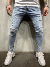 Load image into Gallery viewer, Light Blue Ripped Jeans Slim Fit Mens Jeans AY447 Streetwear Mens Jeans