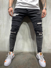 Load image into Gallery viewer, Tappered Black Ripped Jeans Slim Fit Mens Jeans AY446 Streetwear Mens Jeans