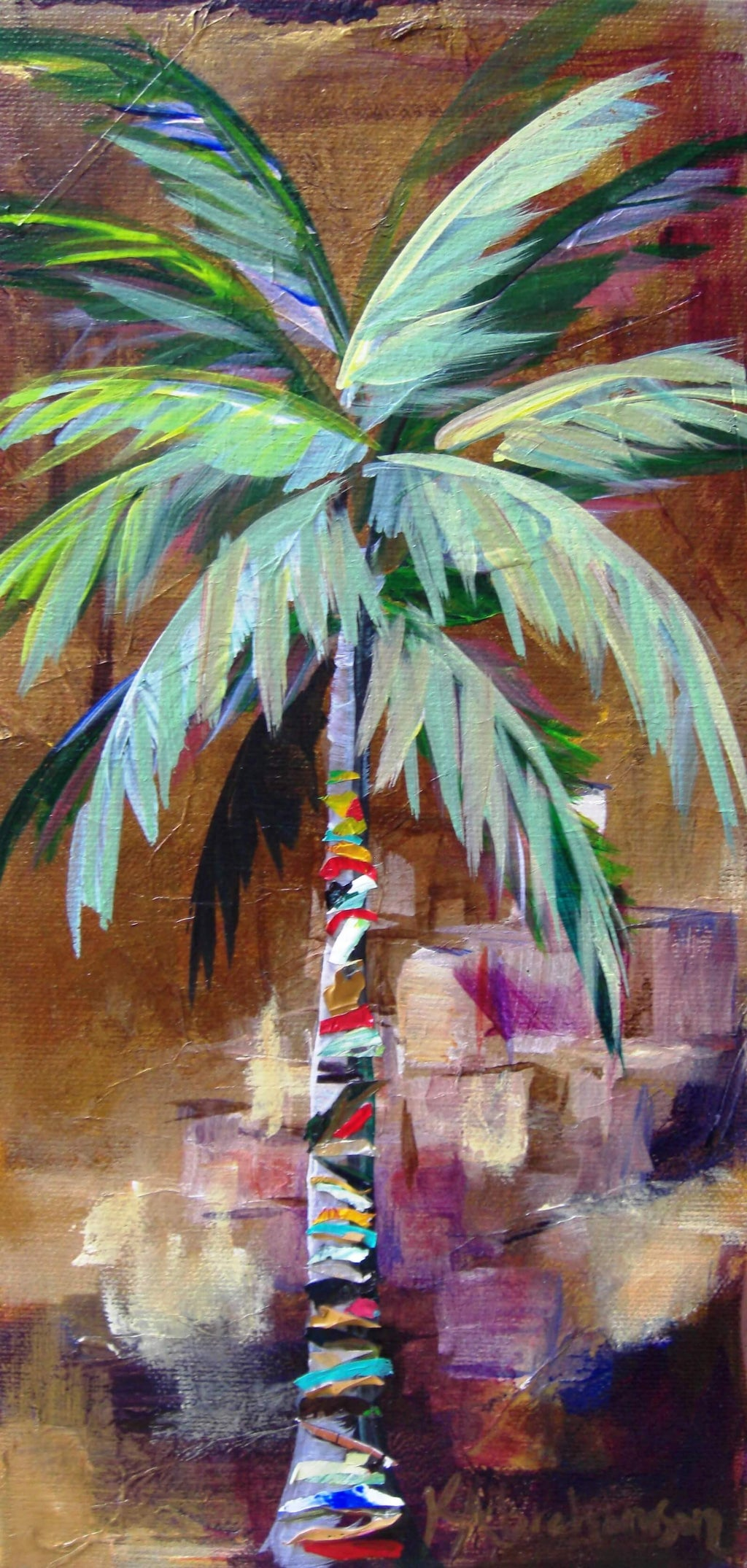 """Golden Amethyst Palm Tree Painting"""